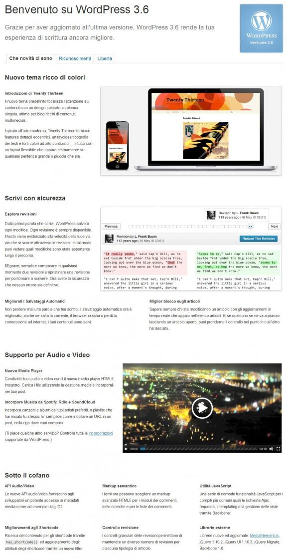 Schermata di benvenuto WordPress 3.6