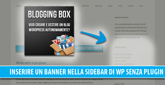 Inserire un banner (immagine + link) nella sidebar in WordPress senza plugin