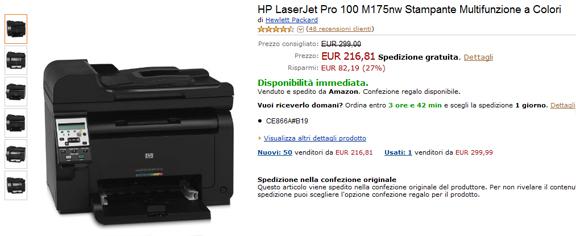HP LaserJet Pro 100 M175nw Stampante Multifunzione a Colori