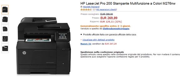 HP LaserJet Pro 200 Stampante Multifunzione a Colori M276nw