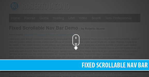 Fixed Scrollable Nav Bar durante lo scrolling