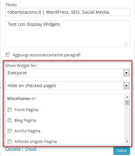 Display Widgets WordPress