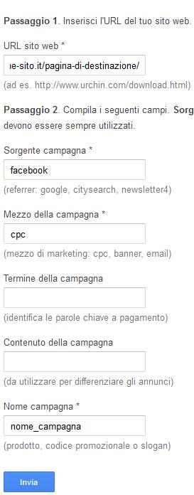 Strumento per vcreare URL google